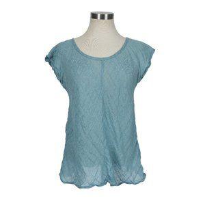 Eileen Fisher 100% Linen Sheer Short Sleeve Top